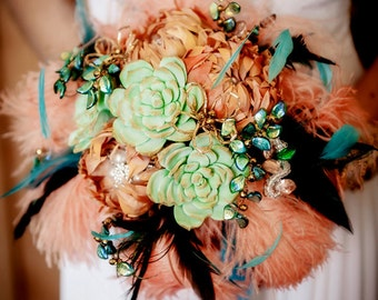 SALE - Feather Bouquet - orange turquoise teal peach with one buttonhole included