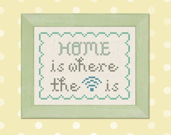 Home is Where the Wifi is. Text Modern Simple Cute Cross Stitch Pattern PDF Instant Download