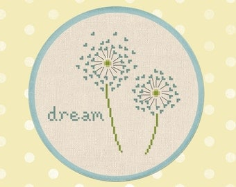 Dandelion Dream Modern Simple Cute Quote Cross Stitch Pattern. PDF Instant Download