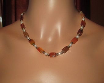 Red Adventurine Stone And Fresh Water Pearl Gold Tone Necklace Classic, One of a Kind, Hand Made