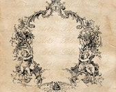 FRENCH BORDER FRAME with Cherubs Instant Digital Download Clip Art