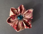 Hand Folded Flower Hair Clip (Tsumami Kanzashi) Japanese Fabric Pink, Green, Red, Gold