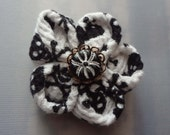 Kanzashi Hair Clip with Black and White Skull Fabric and a Spider Bead