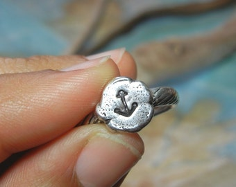 Anchor Jewelry, Tiny Anchor Ring, Sterling Silver Anchor Jewelry, Simple Handmade Sterling Silver Ring, Nautical Jewelry, Anchor Decor Ring