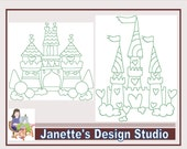 Instant Download  Machine Embroidery Designs redwork Castles Set of 10 size 8x8 inches