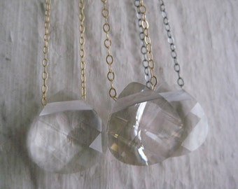 Swarovski Crystal Necklace- Simple, Modern, Briolette, Chain, Gold, Sterling Silver