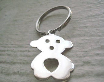 Teddy Bear Keychain- Sterling Silver, Charm, Gift, Key Ring