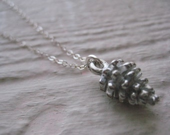 Pine Cone Necklace- Pewter, Sterling Silver, Charm, Nature, Gift, Chain, Woodland