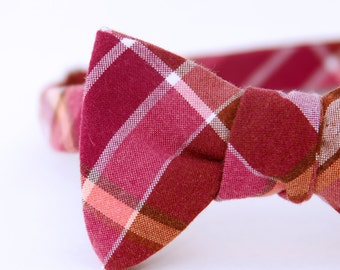 fuschia plaid freestyle bow tie