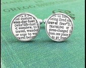 Silver or Brass Cufflinks - Wanderlust and Travel Text - Wearable Art- Handmade by Lisa Owens