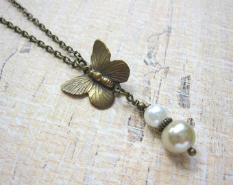 Butterfly Necklace, Pearl Necklace, Woodland Necklace, Antique Brass, Faux Pearl, Butterflies, Nature Jewelry, Gift For Teens, For Her