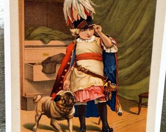 Lithograph Art Print Titled A Prisoner of War by Herman Bencke Antique