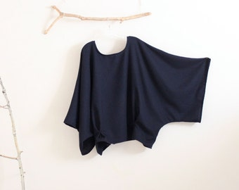over size soft navy wool kimono wide sleeve top with folds