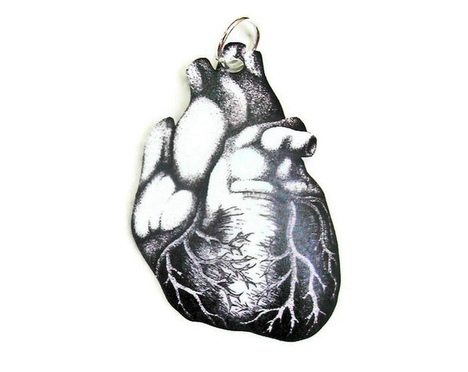 Necklace Anatomy Heart Small Pendant necklace Vintage Illustration anatomical Gifts for her