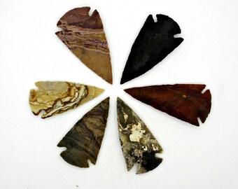 Arrowhead Pendants, Stone Arrowheads, Tribal Arrowheads, 6 pendants