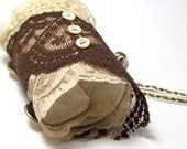 Tribal Fusion Lace Cuff - Chocolate and Cream