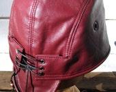Burgundy  Leather Skullcap/ Doo Rag/ Headwrap Extra Large Size