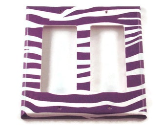 Light Switch Cover  Double Rocker  Switchplate Switch Plate in Funky  Zebra Purple  (088DR)