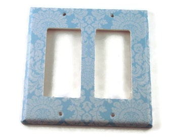 Double Rocker Light Switch Cover Wall Decor Switchplate Switch Plate in  Baby Blue Damask  (194DR)