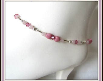 Anklet, Beaded Anklet, Pink Anklet,  Pink Hearts, Crystals, Rose Quartz  9.5 inches,  Foot Jewelry, Body Jewelry,  extender Item #999