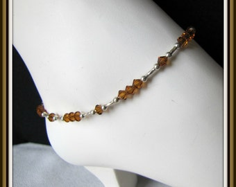 Topaz Anklet,  Beaded Anklet,  Topaz Crystals, Body Jewelry,  Foot Jewelry size  9.25 inch,  extender,  Lobster Claw Clasp  Item #1002