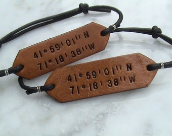 His and Hers Adjustable Nautical - Latitude/Longitude Leather signet wristbands - set of two