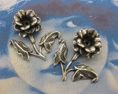 Silver Ox Plated  Brass 3D Flower Stampings with hole for hanging options 2160SOX x2