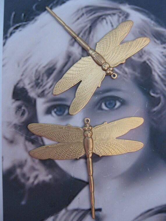 Large Raw Brass Dragonfly Charm Pendant 323RAW x2