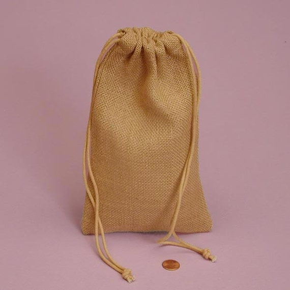 6 pack colored burlap drawstring bags 3x5 inch size great for