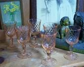 6 Pink Arcoroc Cordials Liquer Glasses Stemware