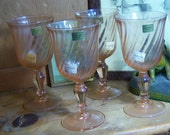4 Arcoroc Rosaline Pink Swirl Water Goblets New Old Stock