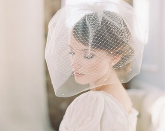 Bridal double birdcage blusher veil scattered pearls - Style Milky Way no. 1982