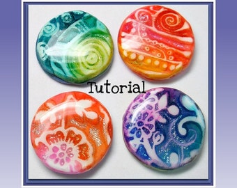 Tutorial Faux Dichroic Pendants- polymer clay Cabochon tutorial - Ink and Foil Tutorial- Beginner Tutorial