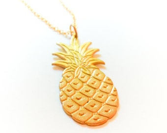 Tropical Island Gold Pineapple Pendant Necklace