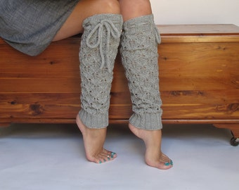 Leg warmers Lace Dove Grey Merino Wool with ties hand knit Women