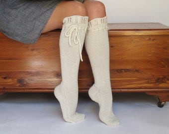 Knee High Socks Perfect Cream Lace Merino Cashmere Wool