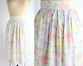 pastel floral print pencil skirt | vintage rayon floral skirt | made in Ireland | S-M