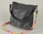 two strap bag recycled black leather with wild lining
