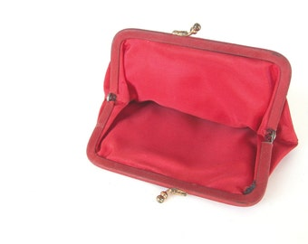 Vintage Red Taffeta Change Purse