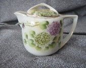 Vintage Porcelain Covered Syrup Pitcher - Made in Japan - Hydrangea Flowers