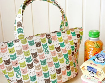 Lunch Bag Free Shipping - Kawaii Japanese Kokka Fabric Insulated - Sandwich Snack Lunch Bag Tote