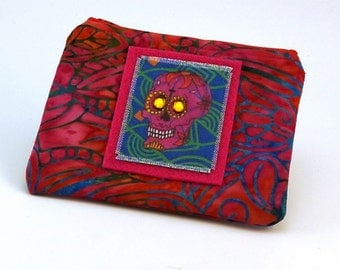 Zippered Pouch iPod Case Coin Money Holder Small Gadget PouchSugar Skulls Made in the USA