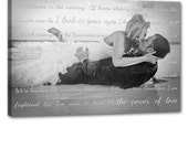 Gift for Newlywed couple, Canvas decor Your Photo and Your Personalized Vows, Text 12x24 inches