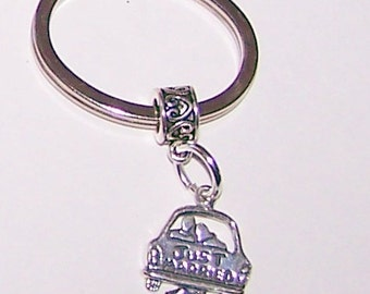 Sterling Silver JUST MARRIED Key Ring -  Key Chain - Wedding