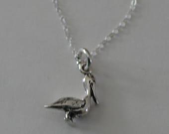 Sterling Silver 3D PELICAN BIRD Pendant and Chain - Tropical, Beach, Seashore, Sealife