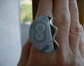 Top Shelf Ocean Jasper Cocktail Ring with a Touch of Gold - Size 8.5