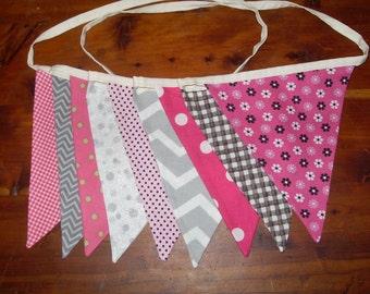 Pink gray fabric flag banner teacher classroom nursery party outdoor bunting chevron polka dot