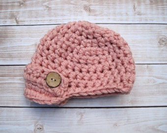 Newborn Girl Hat, Baby Girl Hat, Coming Home Hat, Baby Crochet Hat, Newborn Hat, Crochet Baby Hat, Infant Girl Hat, Girl Newborn Hat, Pink