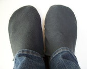Custom Thick Fleece Slippers with White Grip Tight Soles (Polartec Fleece, 200 series) For Adults and Big Kids