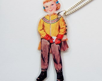 Julie Autumn Paper Doll Laminated Necklace